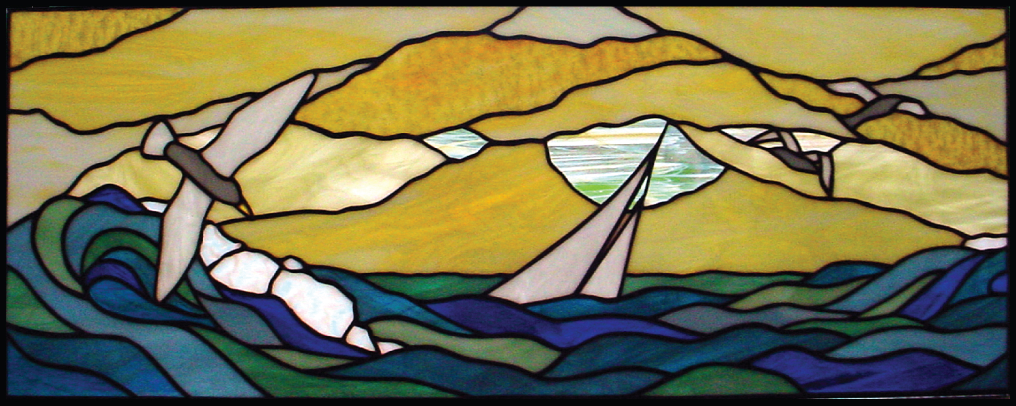 """Seagul, Boat, clouds & Waves"" 2004, tiffany"